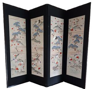 """WW2 Antique Japanese Room Screen Embroidered Silk Thread Birds Floral 6'× 54.5"""""""