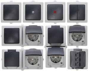 Kopp Nautic grau Schalter Steckdosen Taster Kombi Feuchtraum IP44 Aufputz