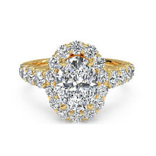 Rings 14K Real Yellow Gold Wedding Ring 1.75 Ct Oval Cut Natural Diamond Women's