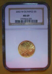 2002-W SALT LAKE- OLYMPICS GOLD $5-MS-69 NGC