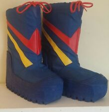 Vintage 70s 80s Moon Boots size 6 blue yellow red stripe costume rubber winter