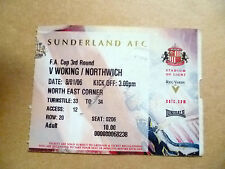 Ticket- SUNDERLAND v WORKING/NORTHWICH, FA Cup 3rd Round, 8 January 2006.