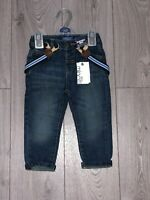 NEW BOYS INFANT DARK BLUE DENIM JEANS ADJUSTABLE WAIST WITH BRACES  12 M-2 YEARS