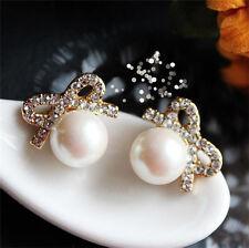 New Pearl Earrings Bow Earrings 18 carat gold ear high-grade diamond jewelry A28