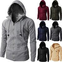 Men Hooded Sweatshirt Coat Zip Up Hoodie Jacket Sweater Plain Outwear Jumper TOP