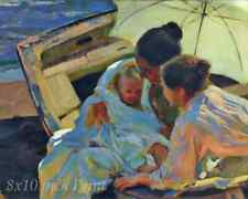 After the Bath by Joaquin Sorolla Mother Child Beach Sea Water 8x10 Print 1493