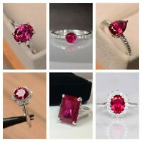 925 Silver Natural Certified Faceted  Ruby Gemstone  Handmade Engagement Rings