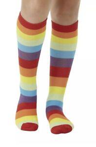 Clown Socks Rainbow Stripe Multi-Coloured Circus Fancy Dress Costume Accessory