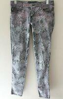 Tripp NYC Pink/Gray Animal Print Skinny Jeans Sz 5 Skull Rivets Punk Emo Pants