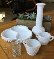 Vintage Milk Glass Hobnail Creamer Sugar Divided Reilsh Vase Toothpick holder