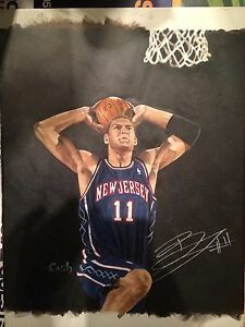 HAND PAINTED 1/1 CANVAS BROOK LOPEZ SIGNED 2008-09 MASTERPIECE-BROOKLYN NJ NETS