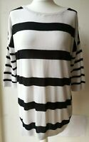 H&M Jumper EU36 UK8 ivory black striped oversized thin knit cotton sailor