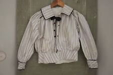 Antique Bodice French blouse shirt c 1900 purple stripes black bow button up