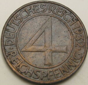 GERMANY (Weimar) 4 Reichspfennig 1932A - Bronze - VF/XF - 432 ¤