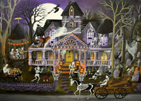 ACEO Halloween folk art print Monster mash bash party black cat haunted house DC