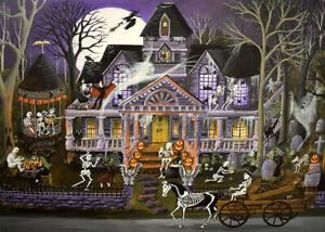 ACEO Halloween folk art print Monster mash bash party black cat haunted house DC