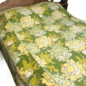 Vintage Mod Floral Bedspread Yellow Green Full Size Cotton Blanket Bed Cover