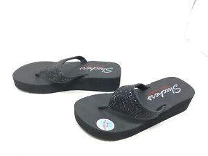 Womens Skechers (31601) VINYASA Black flip flops 432C