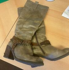 Dune - Ladies Leather Knee High Rocker Boots Size 4 EU 37 Grey