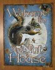 Metal Nature Scene Squirrel Welcome Sign Wall Hanging Funny Humor Picture Worn