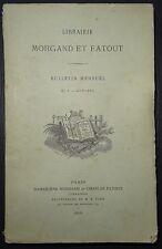 Librairie Morgand et Fatout - Bulletin mensuel N°8 - octobre / 1878