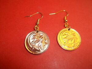 TWO (2) CENT COIN DROP EAR RINGS - AUSTRALIA - FRILLED DRAGON - 1966 to 1989