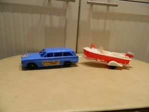 Vintage 1962 Bear Lake Lodge Speed Boat Mary Pat and Oldsmobile F85 wagon