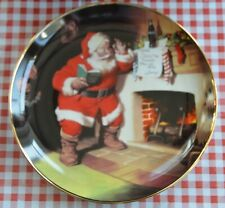 1993 Franklin Mint Ltd Ed. Porcelain Plate Coca-Cola Featuring Santa tHe Pause