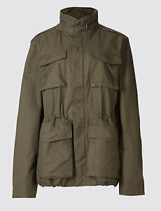 M/&S Mens Cotton Blend Parka Hooded Jacket with Stormwear Medium Olive