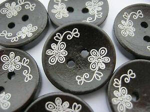 "6 Dark Brown Floral Buttons 20mm (3/4"") WhiteFlower Sewing Focal Button Craft"