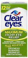 Clear Eyes | Maximum Itchy Eye Relief Eye Drops | 0.5 FL OZ | Pack of 6