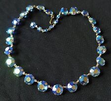 Vintage Necklace 1950's Blue Aura Borealis Rhinestone Collar