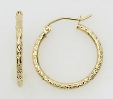 14K Yellow Gold 1.5mm Thick Small Diamond Cut Classic Hinged Hoop Earrings 16mm