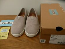 New TOMS Grey SUEDE SIZE 36 UK 3.5 Leather AVALON Trainers Sneaker Drizzle Tom's