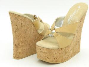 Tony Shoes W507 Tan Cork Wedge Platform Sandals Slides Jewel Ring Size 8 NIB