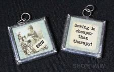 Two-Sided Glass Framed Sewing Is Cheaper Than Therapy Charm