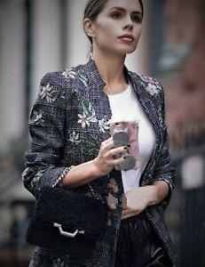 Zara Brodé Jacquard Frock Manteau Blazer Smoking Veste Broderie à Carreaux
