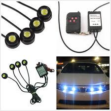 4Pcs White LED Eagle Eye Knight Night Rider Scanner Light DRL Strobe Grille Lamp