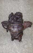 ANTIQUE VINTAGE CARVED SOAPSTONE ASIAN INCENSE BURNER FOUR FOO DOGS HANDLES LID