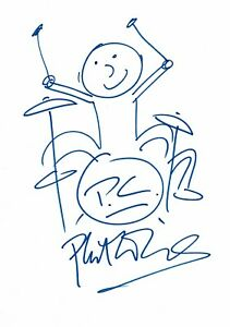 Phil Collins Signed drawing Genesis playing the Drums & COA
