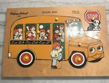 Fisher Price School Bus #515 Wooden Jigsaw Puzzle Peg 13 pieces Complete Vintage