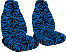 2 Front Zebra Blue Seat Covers Universal Size