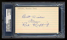 RED RUFFING SIGNED INDEX CARD MINT PSA/DNA SLABBED AUTOGRAPHED HOF YANKEES
