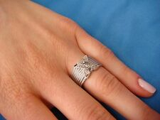 """14K WHITE GOLD, """"X"""" DESIGN, LADIES RING-BAND 6.5 GRAMS, 10 MM WIDE SIZE 6.25"""