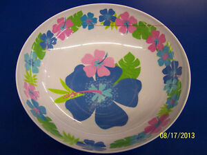 Floral Paradise Cool Tropical Summer Luau Pool Party Melamine Bowl - Blue/Green