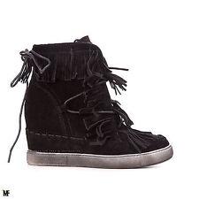 scarpe donna sneakers stivaletti zeppa interna tronchetto frange nuove  BBJ90-E