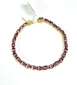 """10.50ct Amethyst Bracelet in 14K Yellow Gold Overlay 925 Sterling Silver 7"""""""