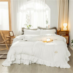 2021 Pure color ruffled white duvet cover, washed microfiber 3/4 piece bedding