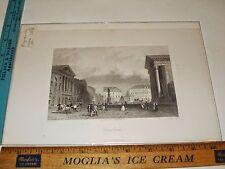 Rare Antique Original VTG c 1895 Scenic Open Plaza Engraving Art Print