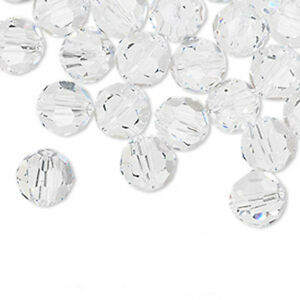 6 Swarovski Crystal Faceted Round Beads Style 5000 Size 8MM Transparent Colors